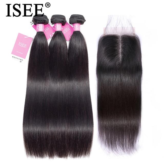 Paquetes de pelo lacio con cierre paquetes de cabello humano malayo con cierre ISEE paquetes de cabello Remy pelo lacio con cierre