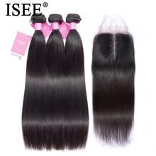 Straight Hair Bundles With Closure Malaysian Human Hair Bundles With Closure ISEE HAIR Bundles Remy Straight Hair With Closure