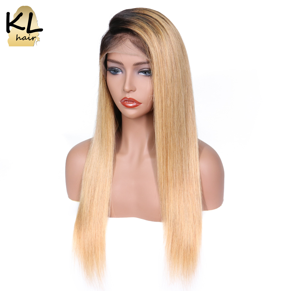 KL Lace Front Human Hair Wigs For Black Women Ombre Color 1B 27 Brazilian Remy Human