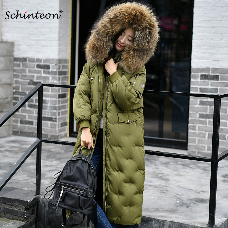Plu Size 2018 Women Thick Long Down Coat with big 100% Real Raccoon Fur Collar Hood Warm Winter Long Jacket Black Army Green