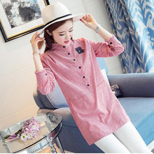 Fairy Dreams Women Shirt Red Blue Gray Striped Blusas 2017 New Style Spring Summer Korean Blouse Fashion Plus Size Clothing XXL