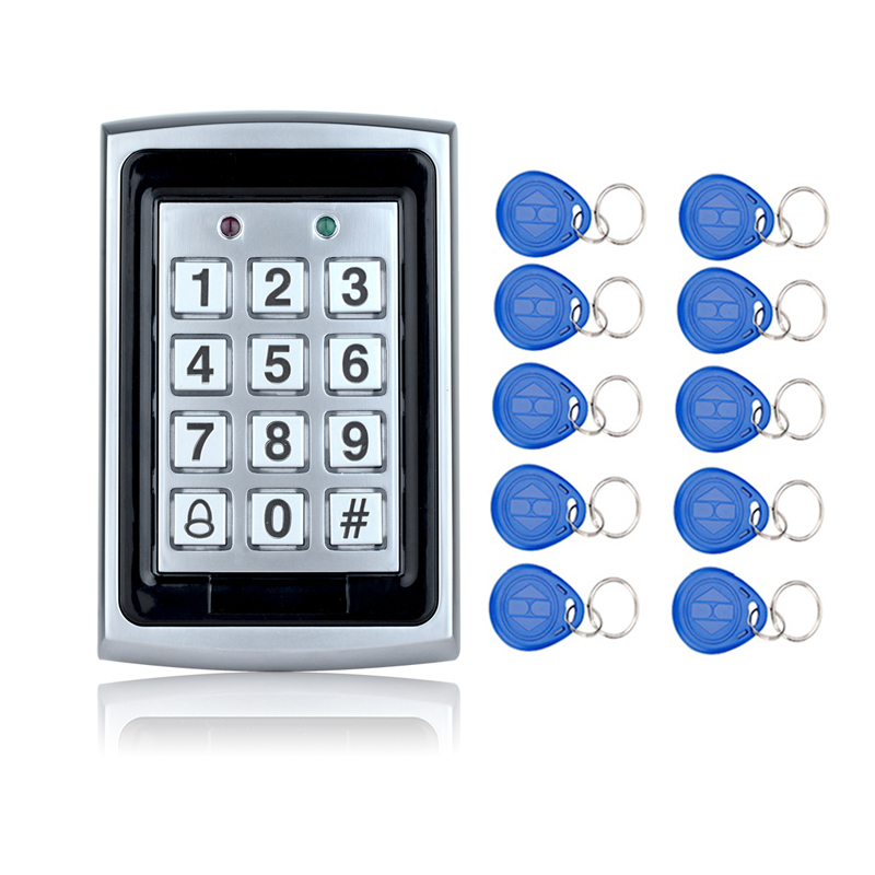 Hot Sale!Waterproof Metal Rfid Access Control Keypad With 1000 Users+ 10 Key Fobs For RFID Door Access Control System rfid waterproof metal control locks with wg26 wg34 input output digital door locks for door access control system 10 keys k82