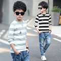 Boys long sleeve spring / autumn T-shirt 2017 new  baby boy clothing big virgin striped knit shirt 6/7/8/9/10/11/12/13/14 years