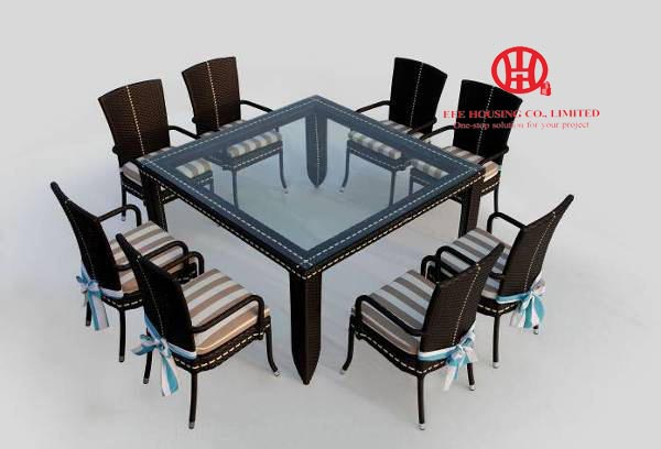 outdoor furniture garden resturant furniture dining set,Elegant garden Aluminum dining table and rattan chair,dining room set