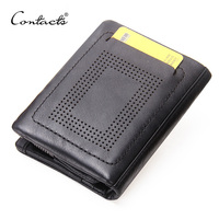 CONTACT S Cowhide Genuine Leather Men Wallets Short Purse With Card Holder Vintage Business Style Wallet