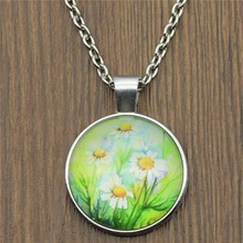 25mm Daisy Flower Glass Cabochon Necklace & Pendant Jewelry Vintage For Women Statement