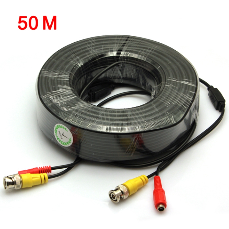 50 Meters Black BNC Video Output Cable for CCTV Surveillance System bnc м клемма каркам