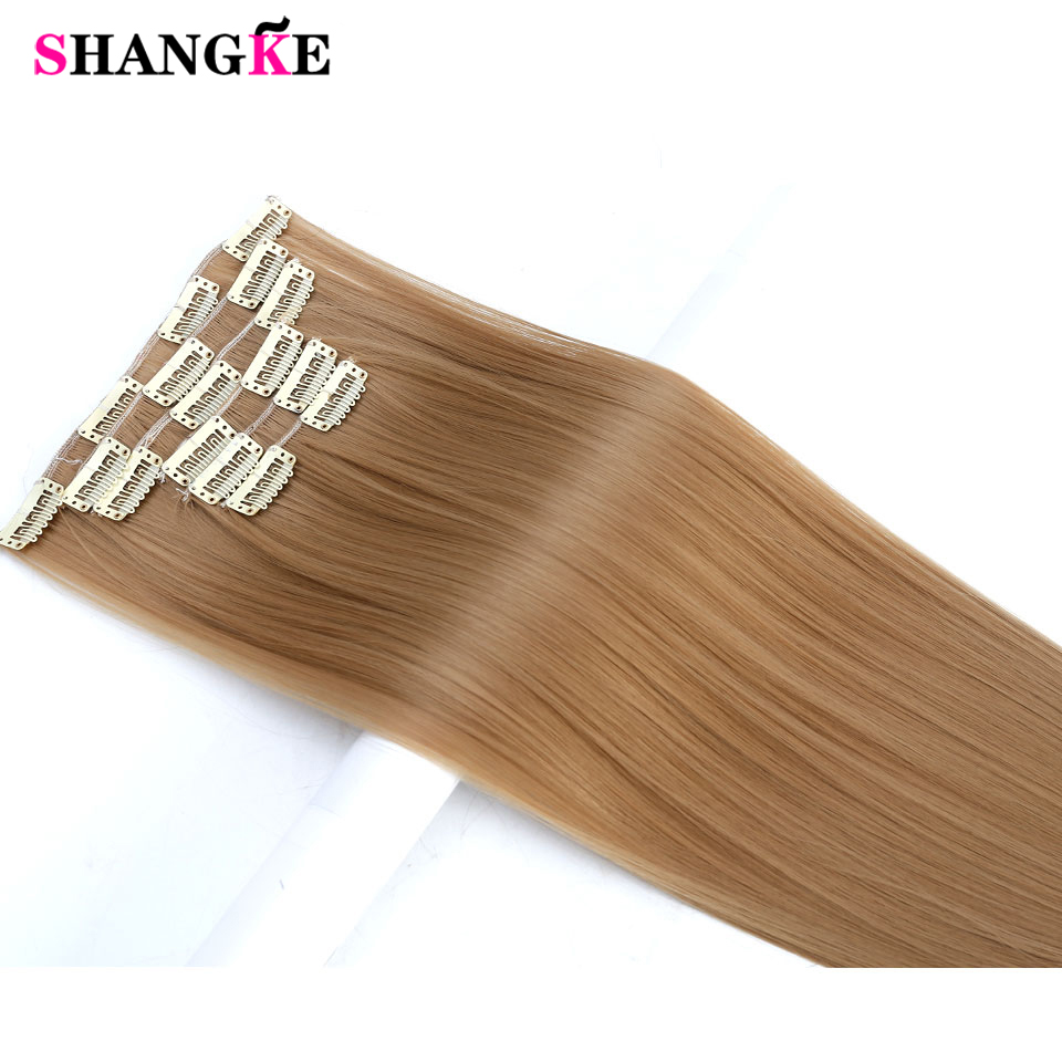 SHANGKE 24'' Long Straight Hair Extension 6 pcs/set 16 Clips In On Hair Extensions High Temperature Fiber Fake Hair Pieces