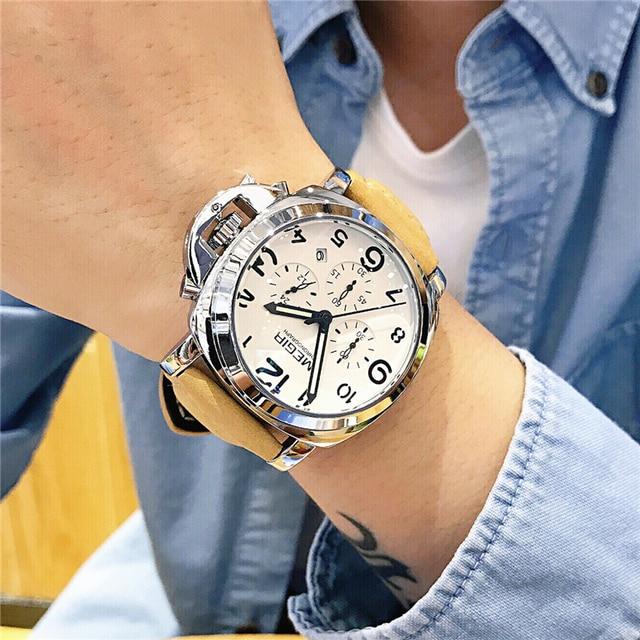 MEGIR New Watch Men Top Famous Brand Luxury Quartz Watches Male Clock Genuine Leather Men Water Proof Wrist Watches