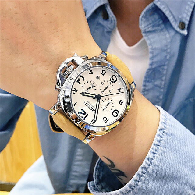 Megir新しい時計男性トップ有名なブランドの高級クォーツ時計男性時計本革男性防水腕時計