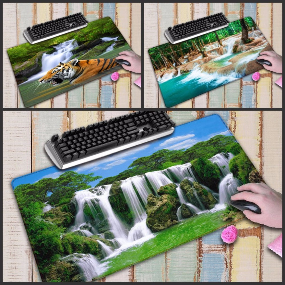 Mairuige Waterfall scenery Large Stitched Edge Thicken Durable Gaming Mouse Pads Computer Rubber Mousemat For Gamer Play Mats in Mouse Pads from Computer Office