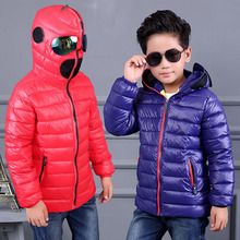 2016 New Boys Winter Down Jacket Clothes 3 Color Kids Outerwear Coat 95% Cotton Baby Thick Clothes Children Clothing With Hooded