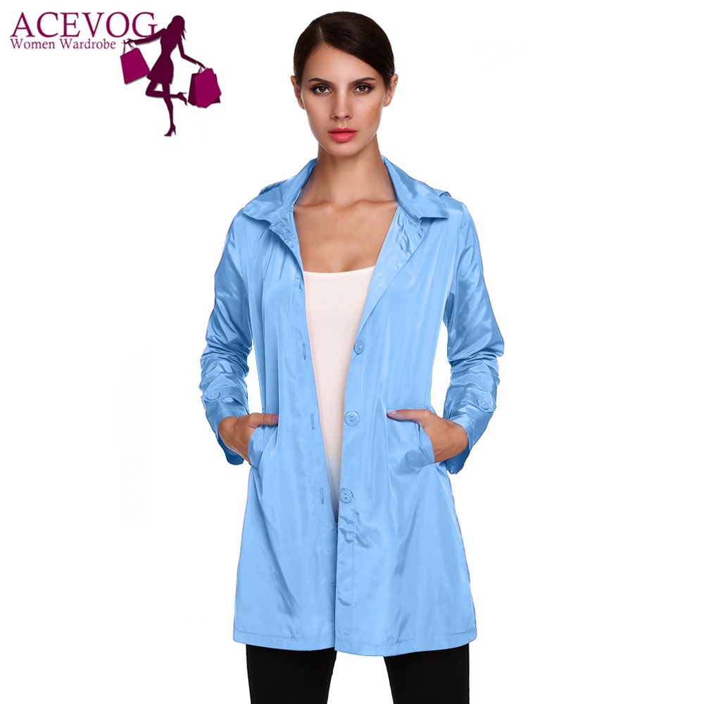 ACEVOG Brand Women Jacket Raincoat Plus Size Autumn Winter Manteaux Femme Stylish Ladies Packable Solid Casual