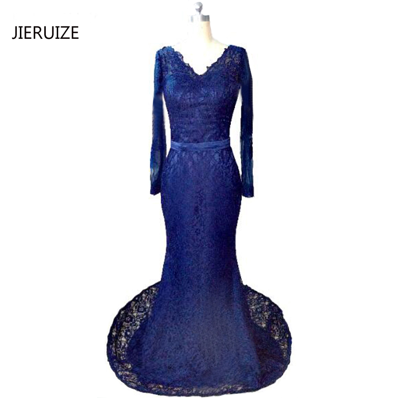 Us 1095 25 Offjieruize Dark Navy Blue Lace Long Mermaid Evening Dresses Long Sleeves Prom Party Dresses Robe De Soiree Evening Gowns In Evening