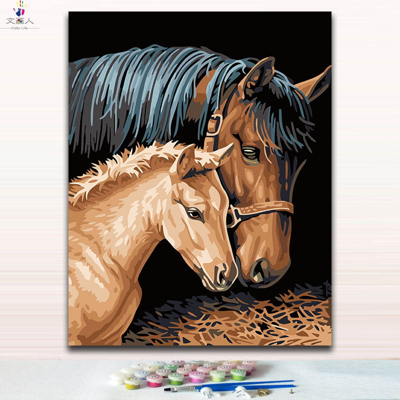 Two horses pictures paintings drawing paints by numbers on canvas with kits package with a frame as special gift to send father