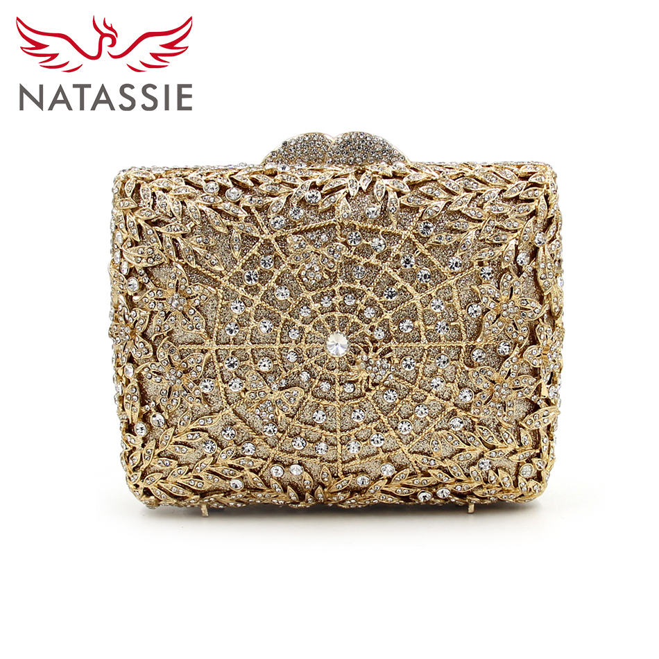 ФОТО NATASSIE 2017 New Arrival Evening Bags Women Clutch Bag Luxury Flower Crystal Clutches Ladies Wedding Purse With Chain