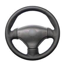 Hand genäht Schwarz PU Leder Künstliche Leder Lenkrad Abdeckungen Wrap für Peugeot 206 1998 2005 206 SW 2003 2005 206 CC