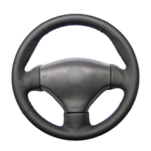 Hand stitched Black PU Leather Artificial Leather Steering Wheel Covers Wrap for Peugeot 206 1998 2005 206 SW 2003 2005 206 CC