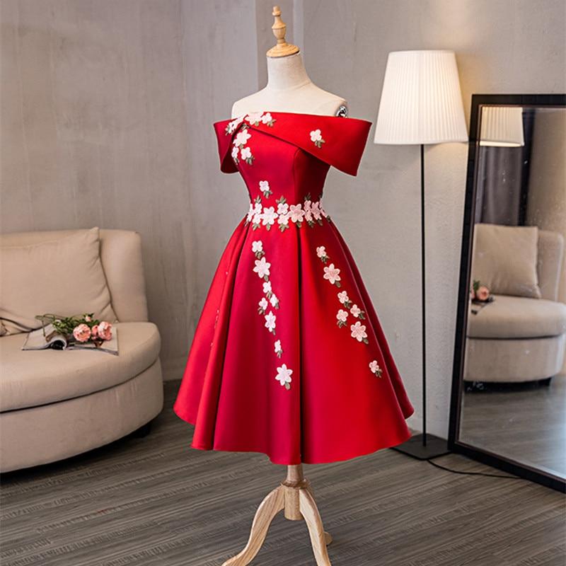 Op voorraad Echt foto rood boothals Korte mouw Plus size prom dresses - Jurken voor bijzondere gelegenheden - Foto 5