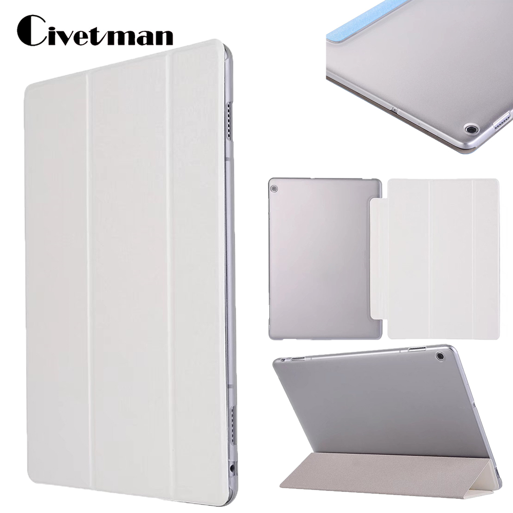 Ultra Slim Silk 3 Folder Transparent Cover Stand PU Leather Skin Bag Case For Huawei MediaPad M3 Lite 10 BAH-W09 BAH-AL00 10.1 luxury pu leather cover business with card holder case for huawei mediapad m3 lite 10 10 0 bah w09 bah al00 10 1 inch tablet