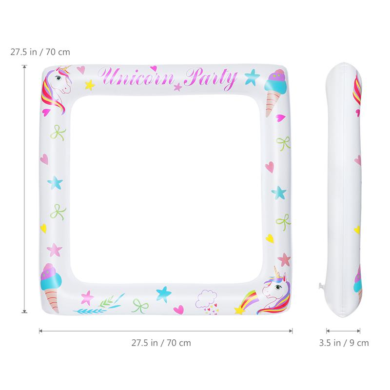 Inflatable Frame Unicorn Photo Booth Props Up Party Selfie Picture For Baby Shower 71x71cm