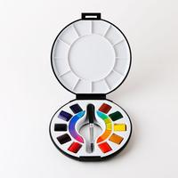 Art Supplies Portable Sketch Box Set 10 Color Solid Watercolor Paint With Brush