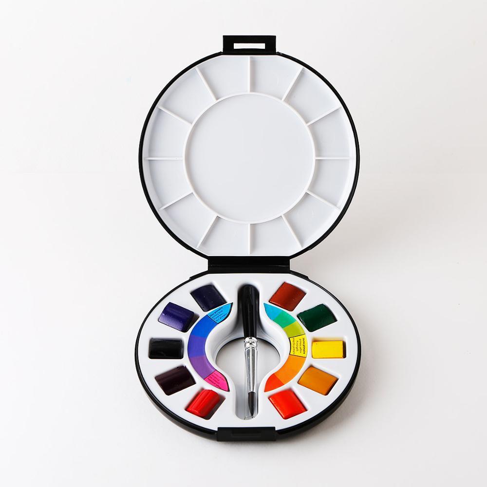 Art fournitures Portable boîte à croquis Set 10 couleurs solide aquarelle peinture avec brosse