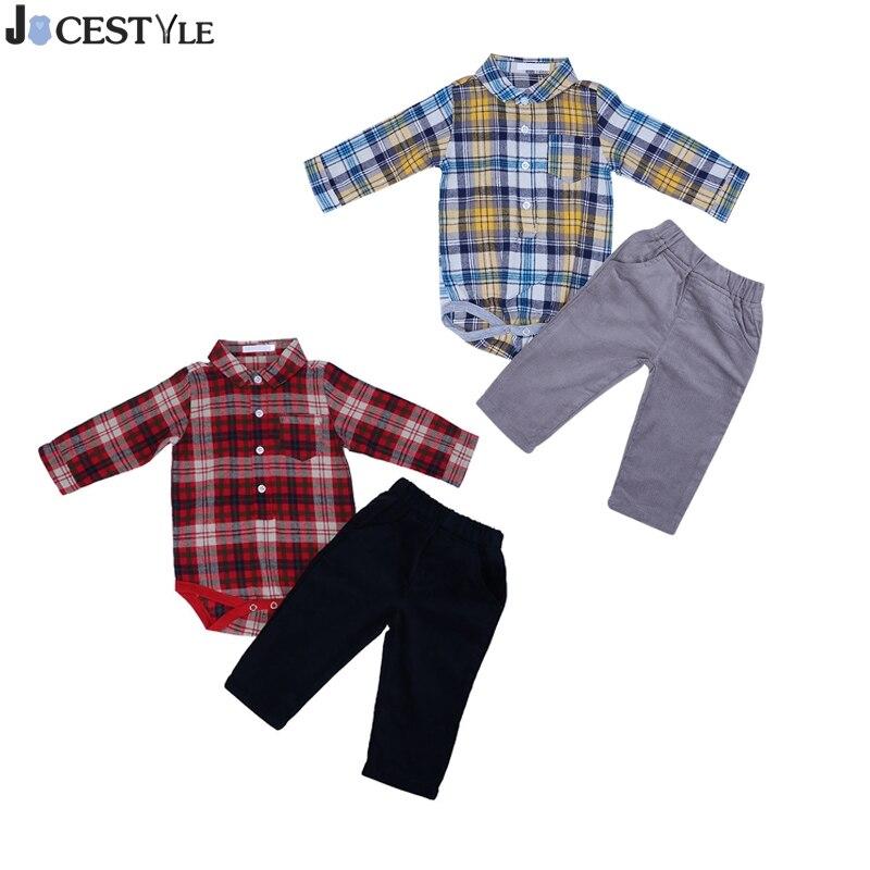 9dc11ae0d86 JOCESTYLE Baby Boys Formal Party Clothes Long Sleeve Plaid Romper Jumpsuit  Shirt Top+Corduroy Pants Outfits Clothes Set