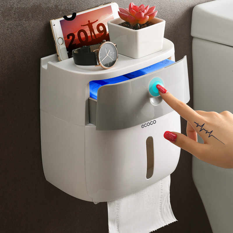 Double Layer Toilet Paper Holder Waterproof Storage Box Wall Mounted Toilet Roll Dispenser Portable Toilet Paper Holders
