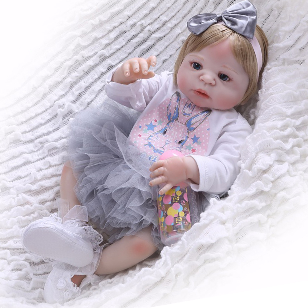 23'' Blond Hair Baby Reborn Girl Dolls Non Toxic Vinyl Body Boneca Reborn Gift For Kids Birthday Toys Silicone Baby Dolls Bebe