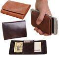 Fashion New arrival High quality PU leather mini ID card holder brown and coffee color men wallets brand hasp min purse FGS11