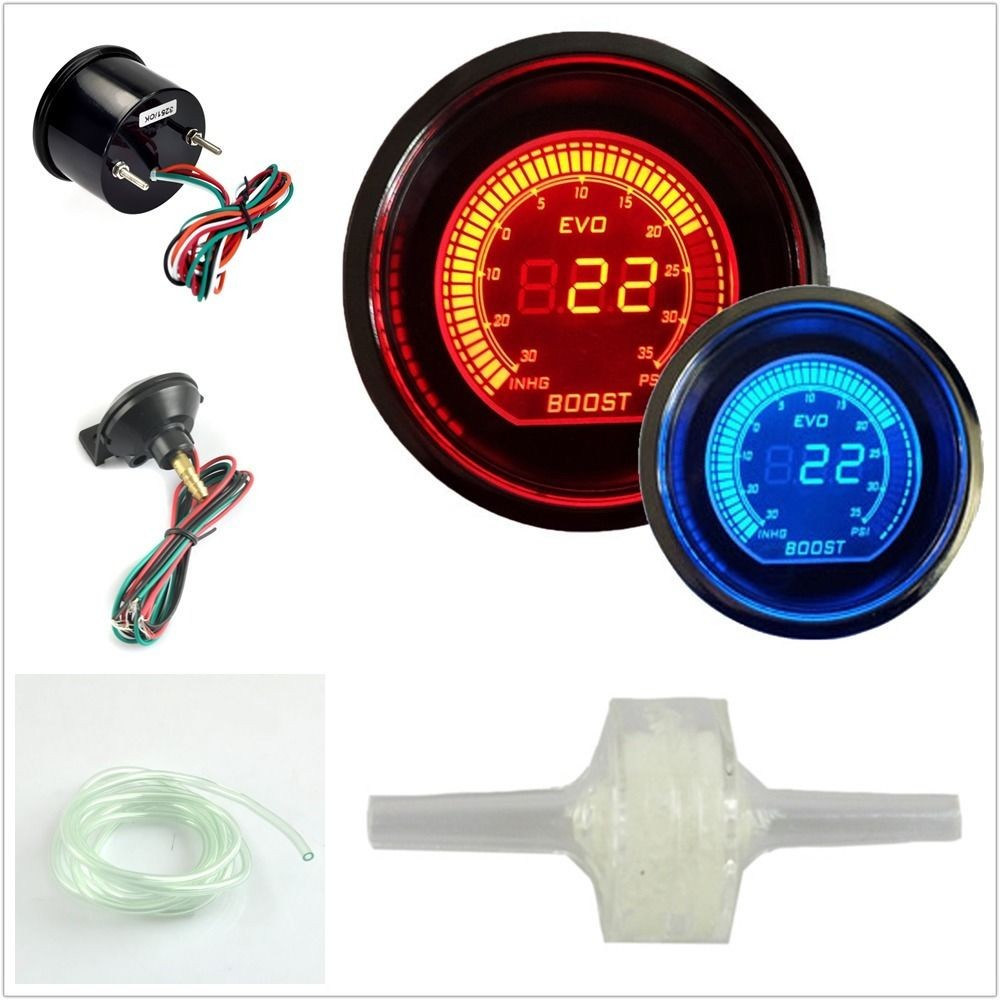 DRAGON GAUGE 52mm EVO Boost Turbo Gauge Psi Red Blue Dual Led Display With Sensor cnspeed 52mm car evo digital turbo boost gauge psi meter sensor blue lcd turbo boost meter turbo pressure boost gauge ms101031