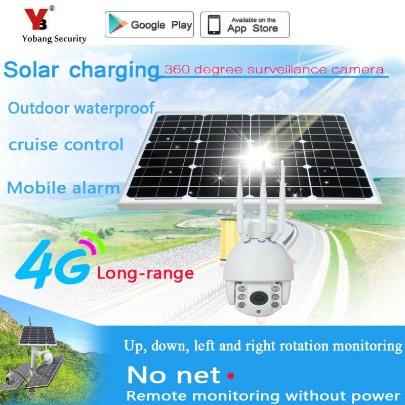YoBang безопасности 1080 P солнечной энергии wifi 4G IP камера Открытый с широким видом 360 градусов панорамный для семьи безопасности вилла