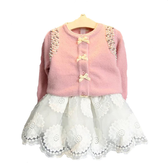2015New Brand Autumn Winter Princess Girl Cardigan Pearls Shoulder Girls Sweater Bowknot Single Breastes Kids Sweater Girls