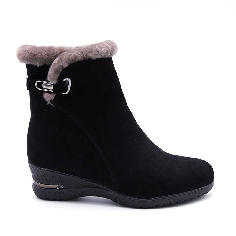 2018 inverno nova lã quente pele tornozelo botas de lã genuína cheio de grãos de couro longo pelúcia botas de neve botas femininas alta qualidade cunhas sapatos