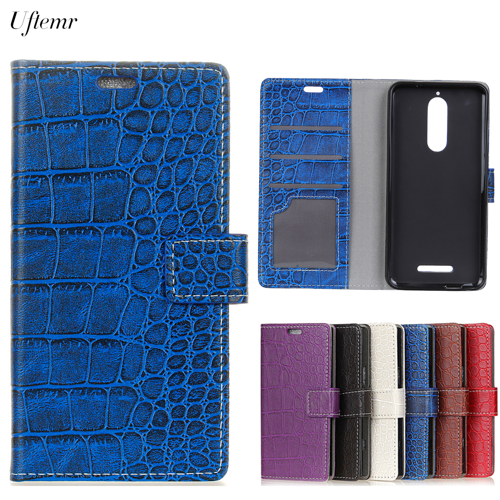 Uftemr Vintage Crocodile PU Leather Cover For Wiko View Protective Silicone Case Wallet Card Slot Phone Acessories