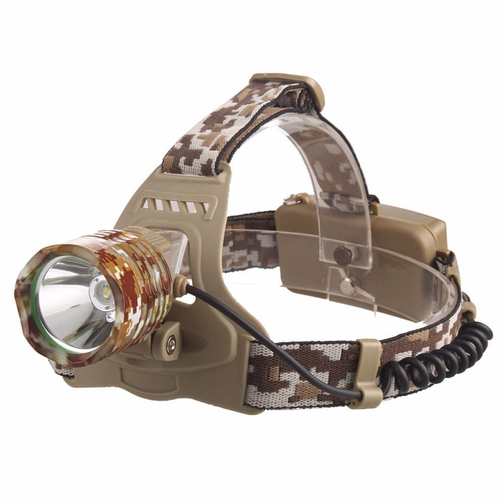 LED Rechargeable Headlamp CREE XML-T6 Camouflage Strong Head Lamp Outdoor Lighting USB Charging Headlight for Camping Fishing