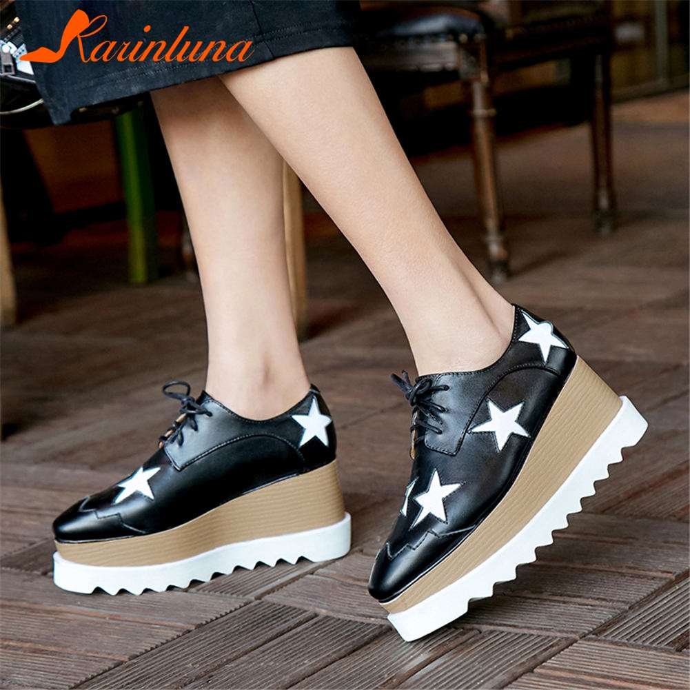 KARINLUNA brand design big size 42 genuine leather stars women's flat platform shoes girls shoelaces leisure shoes woman flats