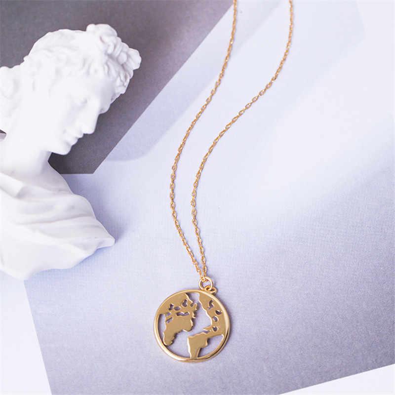 LUSION 流行ヴィンテージ折り紙世界地図女性の幾何ネックレスネックレスサークルネックレス & ペンダントチョーカージュエリー