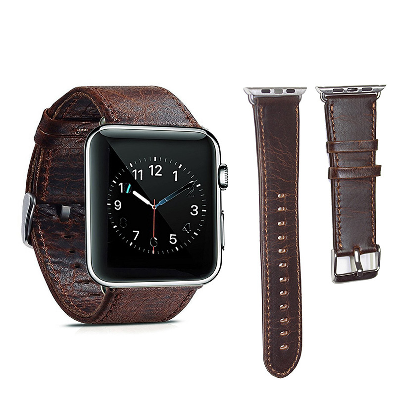 Apple watch band Genuine Leather 42mm Replacement band with Secure Metal Clasp Buckle for Apple Watch Sport Edition Dark brownApple watch band Genuine Leather 42mm Replacement band with Secure Metal Clasp Buckle for Apple Watch Sport Edition Dark brown