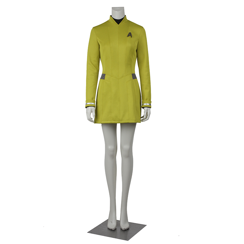 Star Trek Yellow color Female Duty Uniform Blue Dress Cosplay Costumes with badge