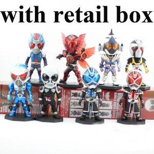 Image 2 - 8 pçs/lote 8cm 13th geração mascarado rider kamen rider animação figura de ação escritório mão pvc modelo brinquedos bonecas presente decoração