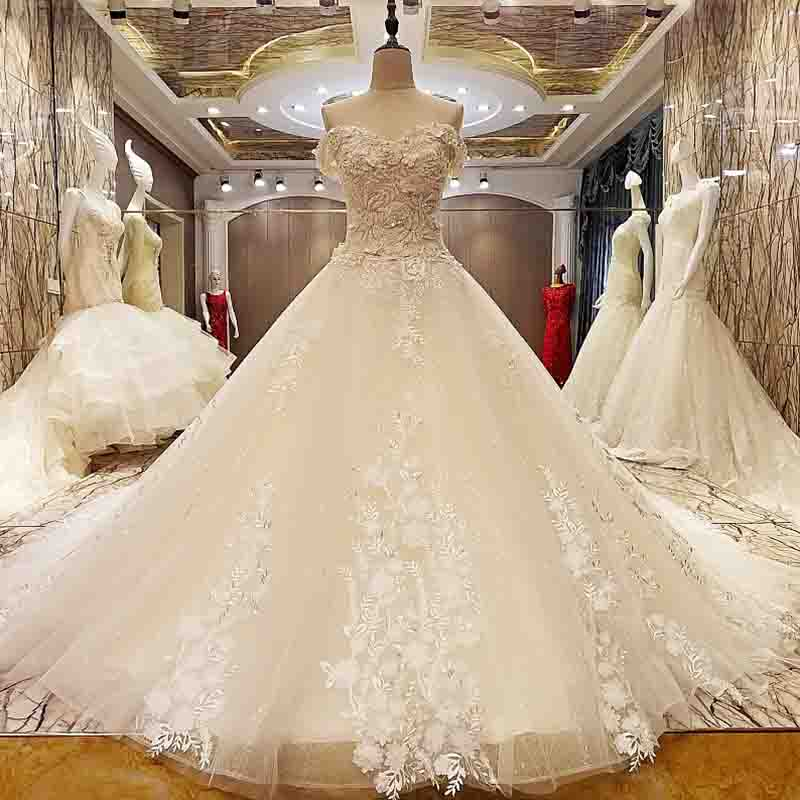 Sleeveless Fashionable Sexy Tulle Wedding Dresses Beading Pearls Luxury Bridal Dress 2018 Vestido De Noiva