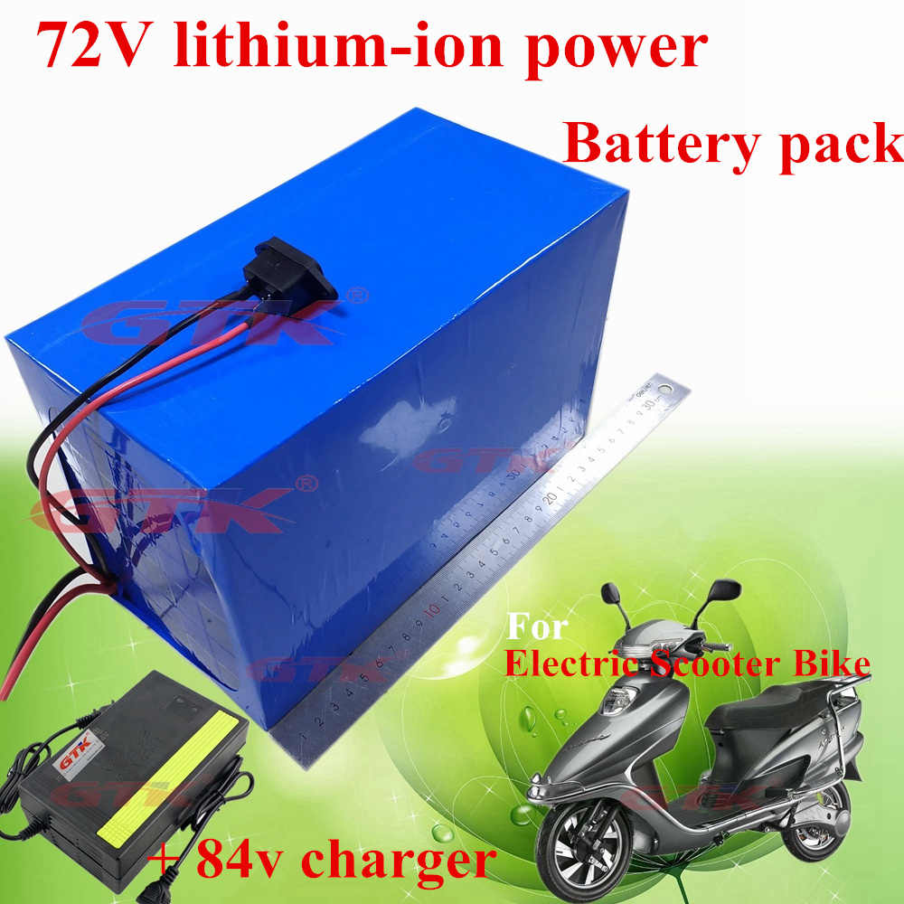 Free shipping GTK 72volt 20Ah 72v 25Ah 15Ah electric bike li-ion battery pack 30A BMS lithium 2000w motor ebike + 84v charger