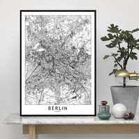 Berlin londres Los Angeles New York Paris Tokyo carte mur Art peinture décor toile impressions toile Art affiche peintures à l'huile pas de cadre