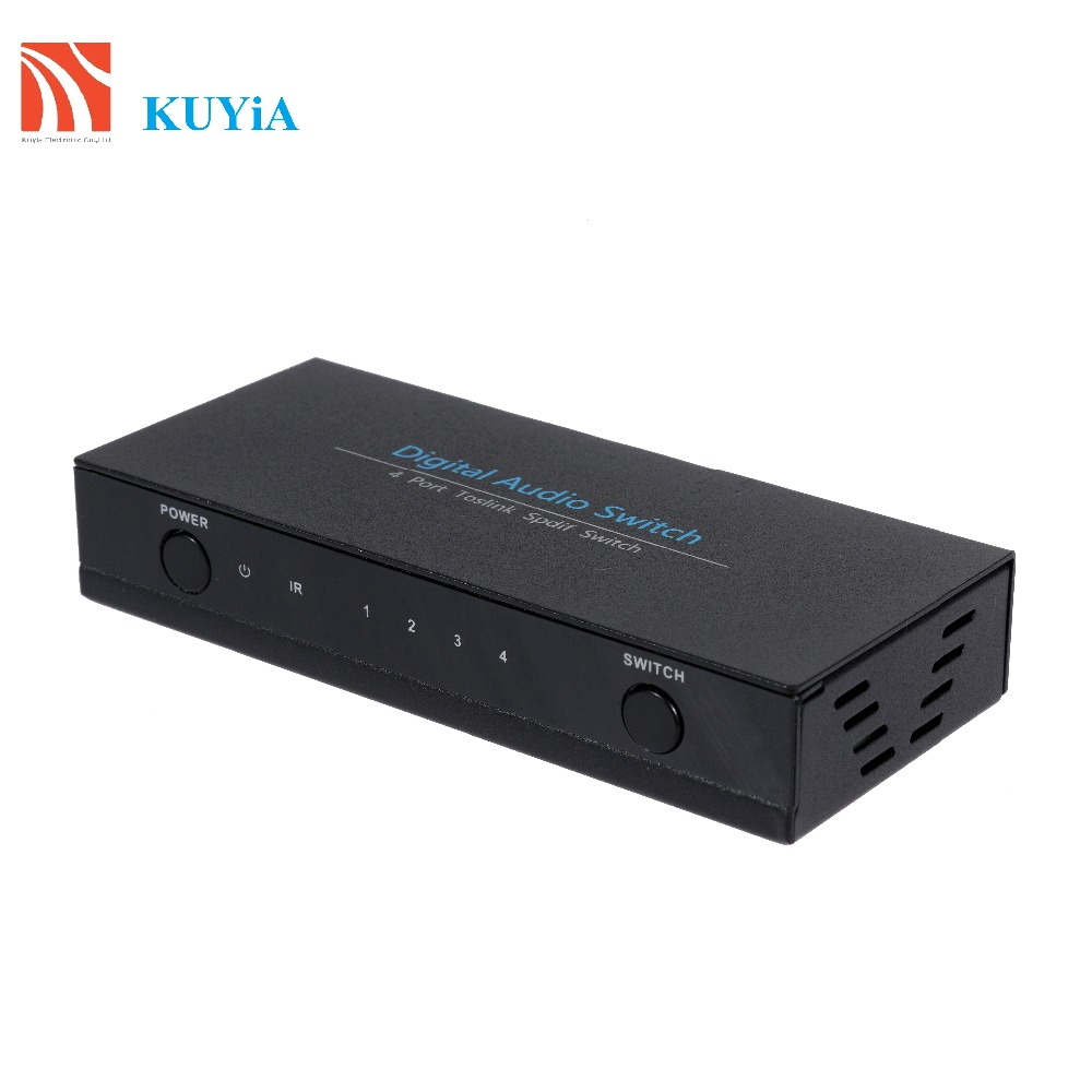 KUYiA Premium Quality SPDIF TOSLINK Digital Optical Audio 4x1 Switcher Splitter 4 Input 1 Outputs