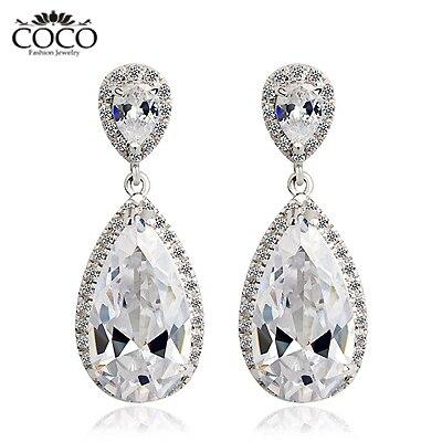 Teardrop Earring Cubic Zirconia Wedding Dangle Earrings Bridal Fashion Luxury Gold Plated Evening Party Jewelry