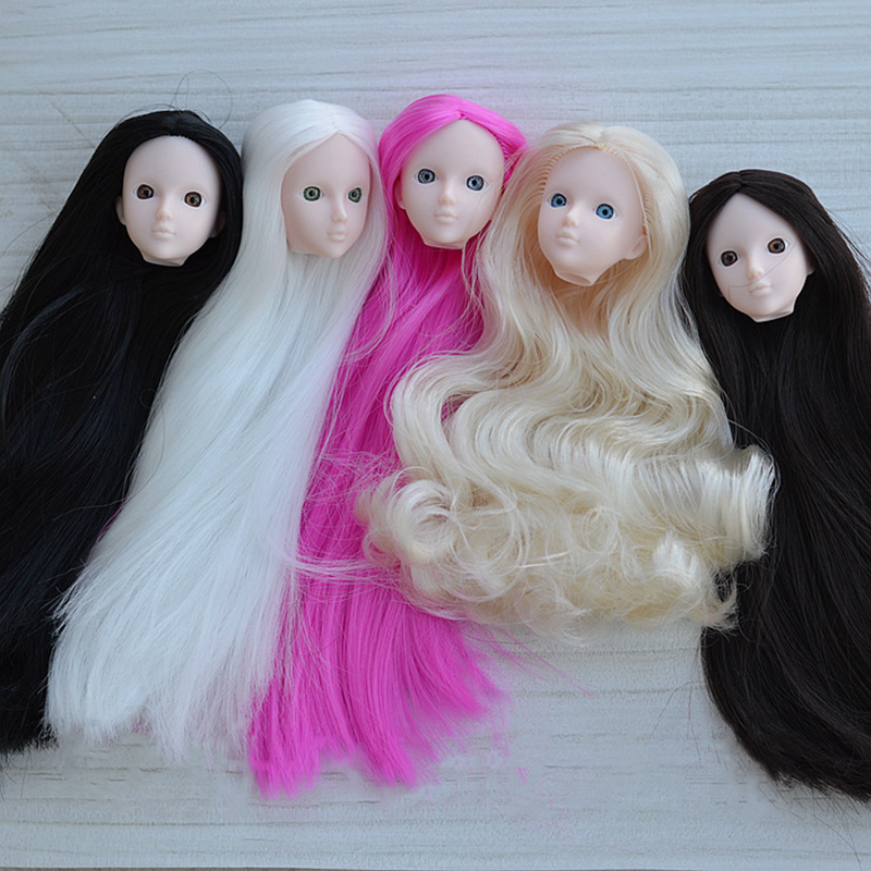 1ea411cfbe2 Original 3D Eyes XINYI DIY Soldier Doll Head Accessories With Light Pink  Skin Long Hair For Makeup Practice Doll Modified-in Dolls Accessories from  Toys ...