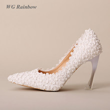 Women High Heels Wedding Shoes 2016 New Arrival Strange Heel Women Pumps White Lace Pearls Bridal Party Dress Shoes