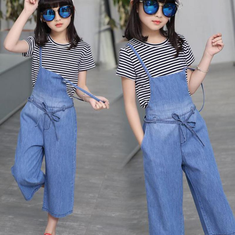2018 Girls Summer Casual Clothes Sets Children Striped T-Shirts + Denim Jumpsuits Children Suits Girl Clothing Set For Kids Sale kids summer clothes sets for girls striped short sleeve t shirts pants casual clothing cotton children suits girl tracksuits